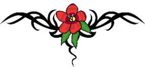 cool tat design with a red flower