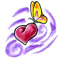 colorful butterfly and heart tattoo design