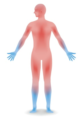 areas of the body normally affected by frostbite, hands and feet