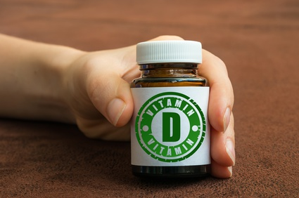 a bottle of vitamin D supplements