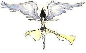 sexy angel tattoo design with large wings